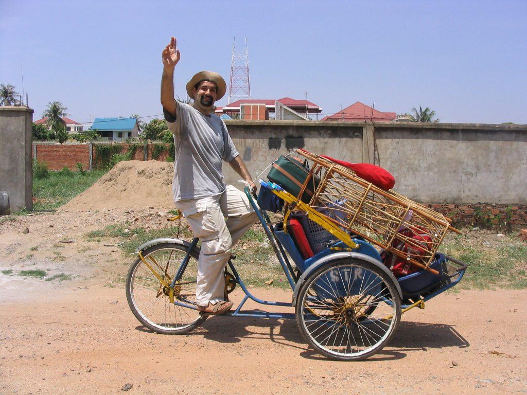 Will Koenig on the cyclo in Cambodia
